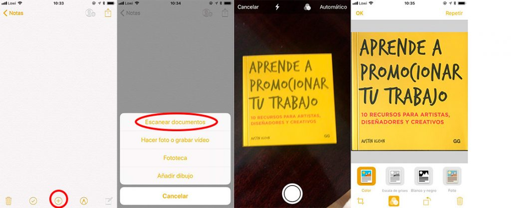 escanear documentos con el móvil iphone