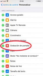 Aplicación para grabar la pantalla del móvil iPhone